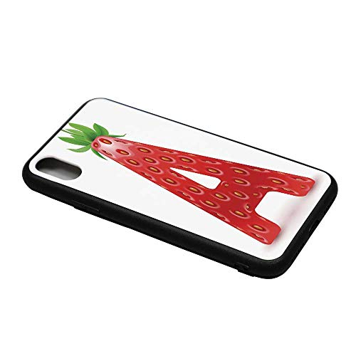 Letter A Printing Compatible with iPhone X Case,Letter A in Strawberry Style with Green Leaves Alphabet Fun Food Theme Decorative for iPhone X Case,iPhone X