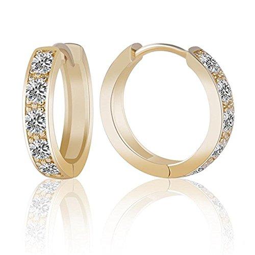 Boucles D'oreilles De Mode Bijoux Earrings Girls 14K Gold Plating White Cubic Zirconia Women's Hoop Huggie Earing E107c 14k Zircon Earrings