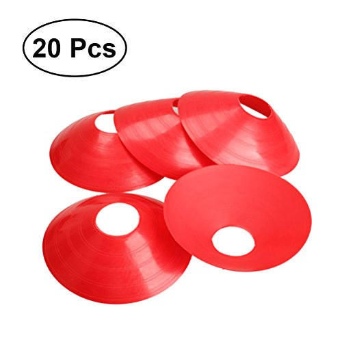 WINOMO 20pcs/set Marker Discs Football Soccer Rugby Round Cones Sports Equipment for Fitness Training (Red) by WINOMO