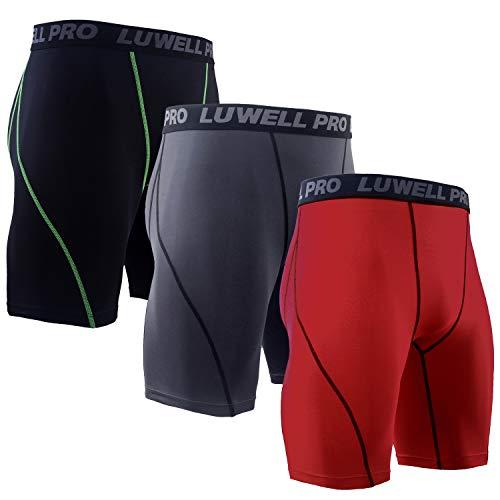 LUWELL PRO 3er Pack Herren Kompressionsshorts, Schnelltrocknendes Baselayer Unterhose Strumpfhose Kurze Hose Laufunterwäsche für Workout,Laufsport,Fitness