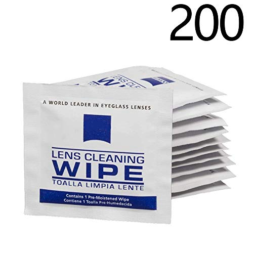Lens Cleaning Wipes, Pre Moistened Cleansing Cloths Great for Eyeglasses, Tablets, Camera Lenses, Screens, Keyboards and Other Delicate Surfaces - 200 Individually Wrapped ()