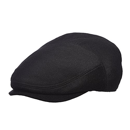 Stetson Men's Cashmere Blend Ivy Cap with Pin, Black, Large