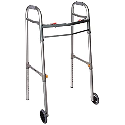 Drive Medical Deluxe Two Button Folding Universal Walker with 5″ Wheels, Gray, Adult/Junior