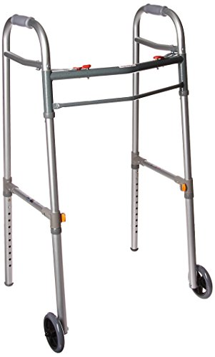 Drive Medical Deluxe Two Button Folding Universal Walker with 5' Wheels, Gray, Adult/Junior