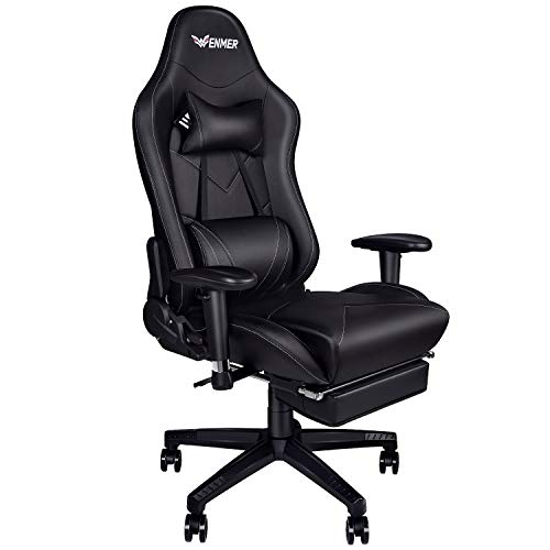 Wenmer Game Chair Computer Gaming Chair Video Game Chair Ergonomic High-Back Racing Chair Pu Leather Swivel Office Chair Headrest and Lumbar Support Executive Desk Chair with Footrest