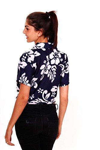 Original King Kameha | Funky Camisa Hawaiana | Mujeres | XS - 6XL | Manga Corta | Bolsillo Delantero | impresión De Hawaii | Hibisco |diferentes colores Azul
