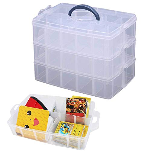 Totem World Collectible Trading Card 3 Tier Storage Case - Deep Compartment Portable Box - Holds 3000 Standard Cards or Sleeves - Fits Pokemon, Yu-Gi-Oh, Magic The Gathering and Game Cards (Pokemon Trading Card Box)