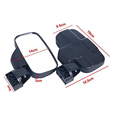 8MILELAKE Adjustable UTV Side Mirror Set 1.75inches or 2inches Roll Bar Cage/High Impact Universal UTV Side View Mirrors: Automotive