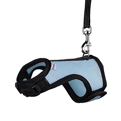 Product image of Niteangel Adjustable Soft Harness with Elastic Leash for Rabbits (M, Blue)