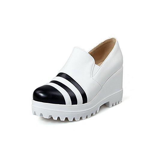 Amoonyfashion Mujeres Soft Material Pull-on Round Toe Tacones Altos Bombas-zapatos Blanco