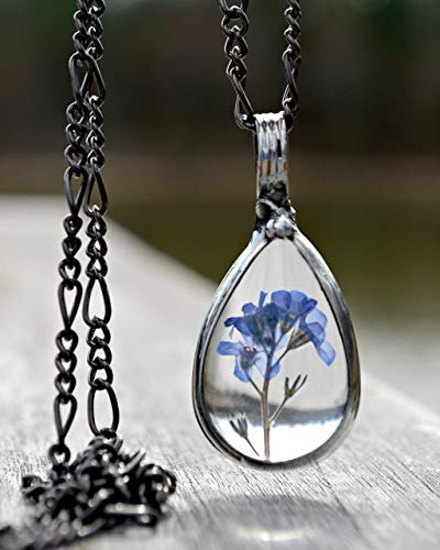 Handmade Pressed Real Flower Pendant, Blue Forget Me Not, Great Gift Ideas, Necklaces for Women 2783]()