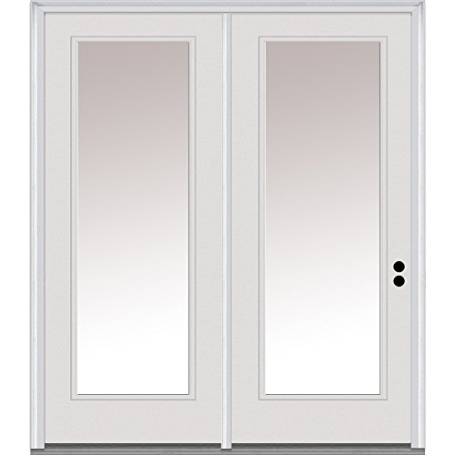 National Door Company ZA01588L Fiberglass Smooth, Primed, Left Hand In-Swing, Center Hinged Patio Door, Clear Low-E Glass Full Lite, 60