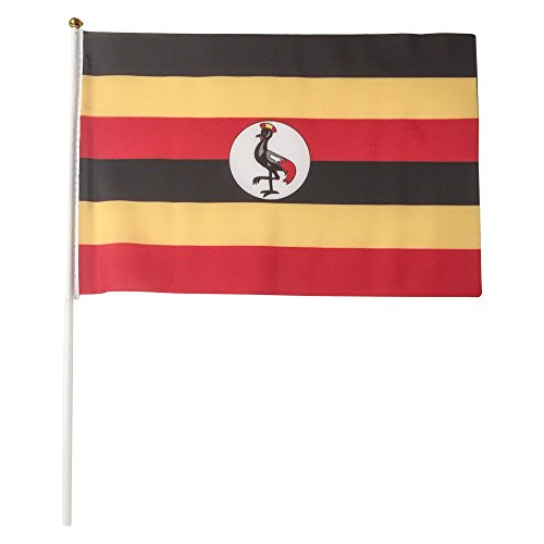 Uganda Polyester Country Flags Desk Outside Waving Parade 12-pack Hand or 12 inch x 18 inch Grommet (12-Pack Hand Flag)