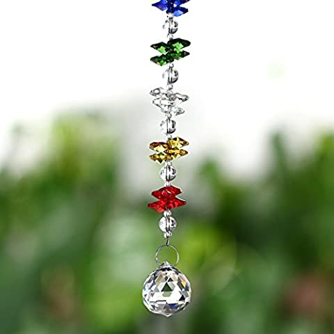 H&D Chakra Suncatcher Chandelier Crystals Ball Prisms Fengshui Rainbow Pendant Maker Car Charm (Crystal Suncatcher Chakra)