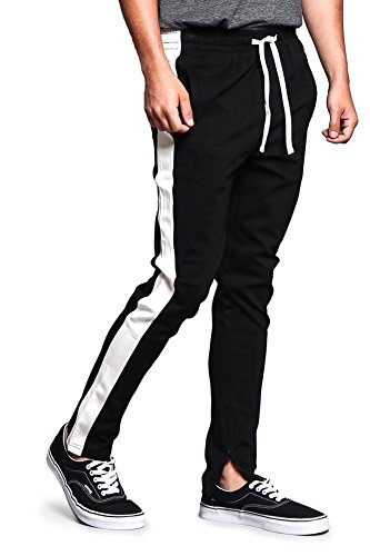 Men's Premium 4-Way Extra Stretchy Ankle Zip Contrast Outer Side Stripe Slim Fit Drawstring Track Pants TR526 - Black/Off-White - 3X-Large - G15B