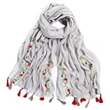 Women's Lightweight National Style Embroider Fashion Scarf Soft Cotton Shawls Wraps Long Scarves With Tassel for Winter Wedding Evening Grey