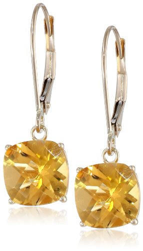 10k Yellow Gold Cushion-Cut Checkerboard Citrine Leverback Earrings (8mm)