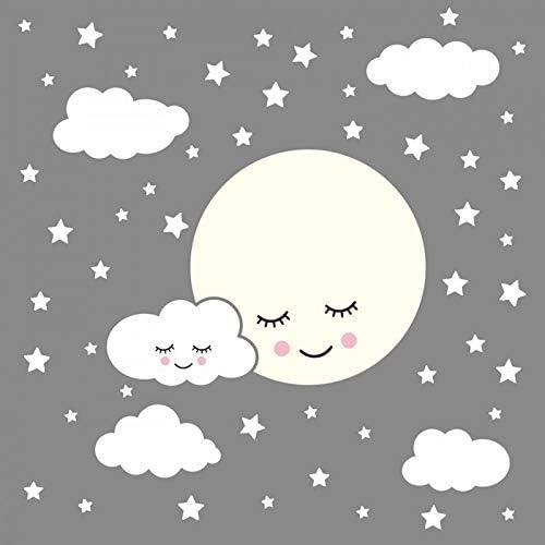 hllhpc Luna Llena con Nubes Estrellas Tatuajes de Pared para niños ...