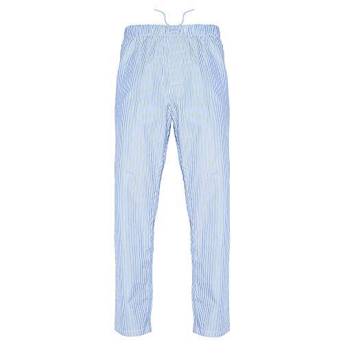 Ritzy Men's Pajama Lounge Pants 100% Cotton Plaid Woven Poplin ComfortSoft (M, Blue & White Stripes)