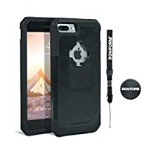 Rokform iPhone 7 PLUS Rugged Series Dual Compound Protective Phone Case with Patented twist lock mount and universal magnetic car mount (Black)