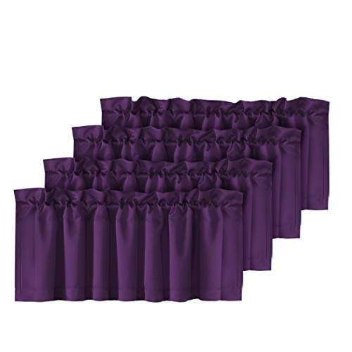 H.VERSAILTEX Thermal Insulated Kitchen Curtain Valances Rod Pocket Solid Window Valances for Living Room/Bedroom,Set of 4 Pack, 52