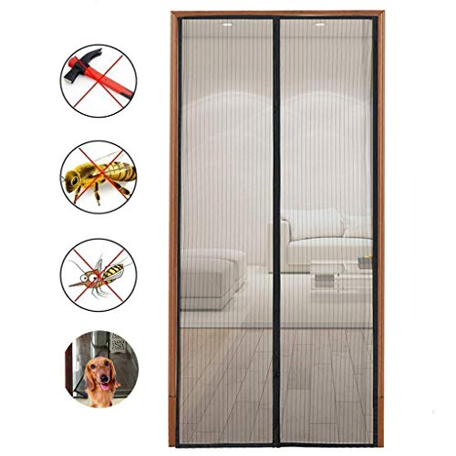 Magnetic Screen Door with Heavy Duty Mesh and Full Frame Velcro-Keep Bugs Out,Let Fresh Air In.Close Automaticlly.(Screen Size 36inchx83inch Fits 34inch Doors) by Hoobest