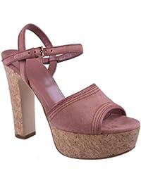 Women's Pink Suede Open Toe High Heel Platform Sandals Shoes
