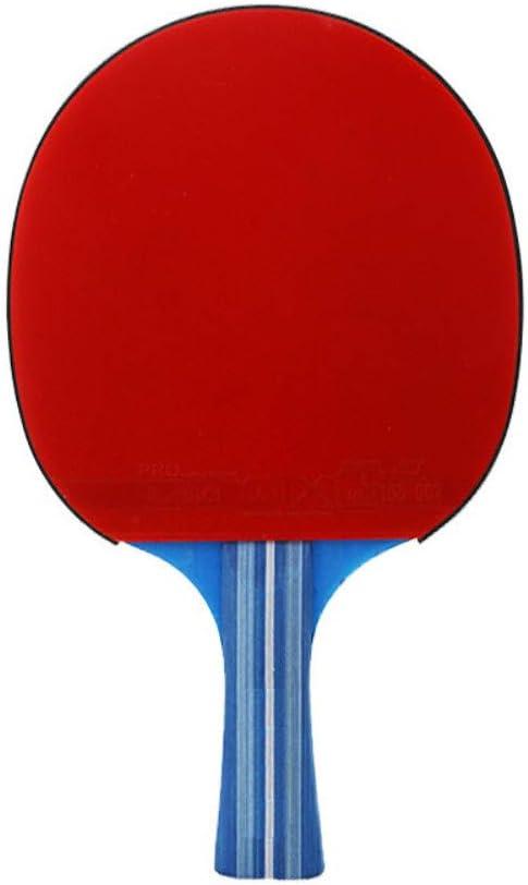 chachacha Raqueta de Tenis de Mesa Raqueta de Ping-Pong Placa Inferior de Madera Pura Placa de Doble Cara Anti-Pegamento Disparo Cruzado Recto (Rojo)