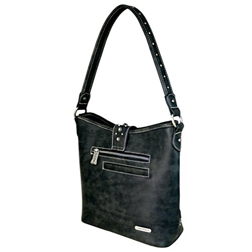 Ranch Collection Trinity Turquoise Handbag Hobo Tooled Leather Black dqtwtC