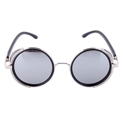 Vintage Hippie Steampunk Metal Round Circle Frame Fashion Sunglasses - Bulletproof Sunglasses