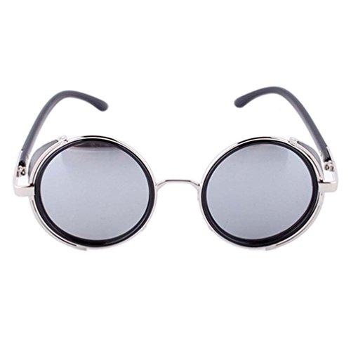 Vintage Hippie Steampunk Metal Round Circle Frame Fashion Sunglasses - King Sunglasses Seven