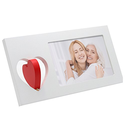 Red Heart Photo - SUMGAR Wooden White Picture Frame 4x6 with Red Love Heart Photo Frames for Desk for Wedding Valentine Birthday or Anniversary