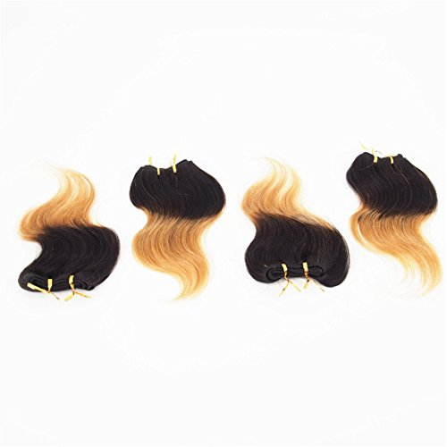 Angel Wave(TM)8 Inch Short Body Wave Human Hair Extension Ombre 2 Tone Human Hair Weft 100% Brazilian Human Virgin Hair Weave 4 Bundles/Lot for Women (B&Y2 8inch)