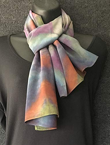 Hand Dyed Sanded Silk Shibori Scarf in Soft Purple, Blue, and Mandarin Orange Multicolors