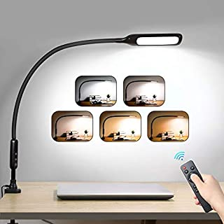 LED Desk Lamp Flexible Gooseneck with Clamp, Swing Arm Lamp with Remote Control, 5-Way Dimmable & 5 Color Modes Architect Lamp, Timer & Memory, 10W Eye-Care Lamps for Office, Work, Reading (Black)