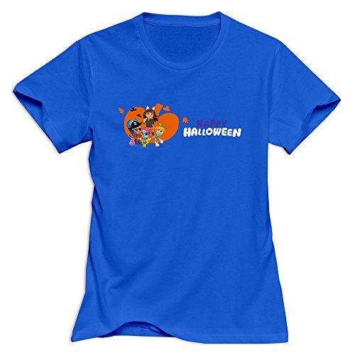 LXQL1 Happy Halloween T-shirt For Women - L RoyalBlue Nerd Roundneck RoyalBlue Shirts For -