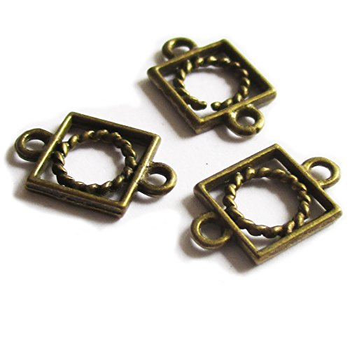 Tone Square Design (Heather's cf 180 Pieces Brass Tone Circle Square Spacer Connector Findings (2 Holes)Jewelry Making 15X9mm)