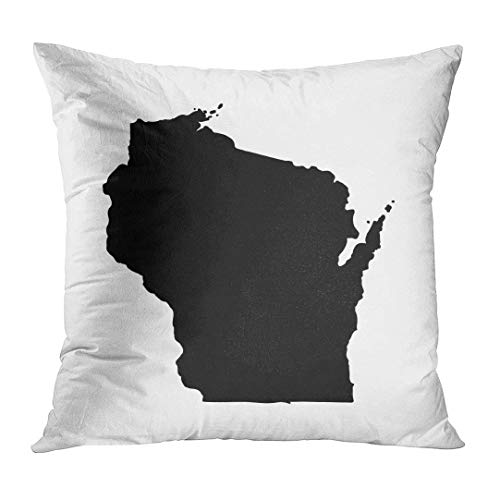 Jbralid Black Shape Map of The U State Wisconsin on White Abstract Pillow Cover Hidden Zipper Cotton Indoor Throw Pillow Case Cushion 16x16 in