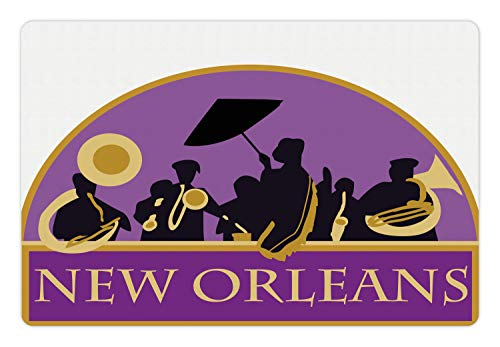 Ambesonne New Orleans Pet Mat for Food and Water, French Quarter Band with Jazz Trumpet Saxophone and Brass, Rectangle Non-Slip Rubber Mat for Dogs and Cats, Blue Violet Earth Yellow Black