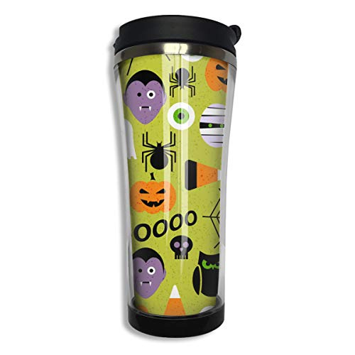 Tumbler Travel Mug Pumpkin Bat Spider Web Halloween Party Patterns Gift Food Grade ABS Mug Insulated Both Cold & Hot Beverage Cup For Home Outdoor With Lid 14 Oz (420 -