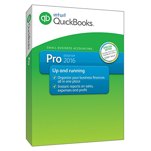 Intuit QuickBooks Pro 2016 Small Business Accounting Software Retail 1 User Boxed Version For Windows 7, 8, 10 (Quickbooks Premier 2013 Software)