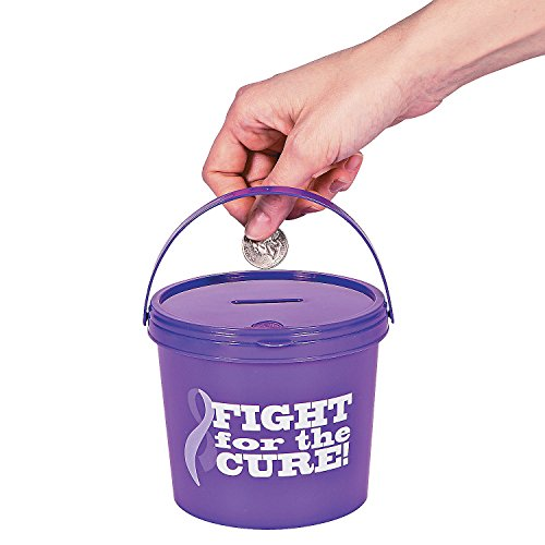 Fun Express - Purple Ribbon Donation Buckets - Party Supplies - Containers & Boxes - Plastic Containers - 12 Pieces