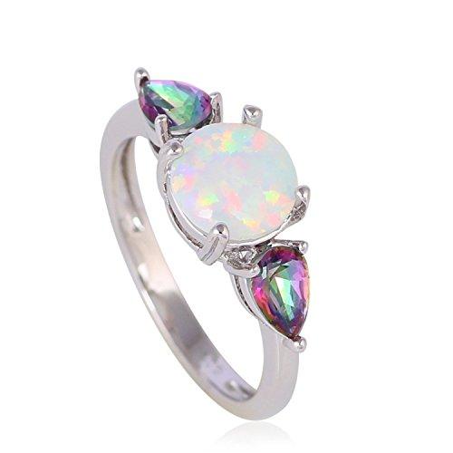 Judith Ripka Sterling Heart (Cherryn Jewelry GlitteRing Ring Rainbow Topaz Stylish White Fire Opal Silver Stamped Fashion Jewelry Ring USA Sz 6 7 8 9 10 OR753A)