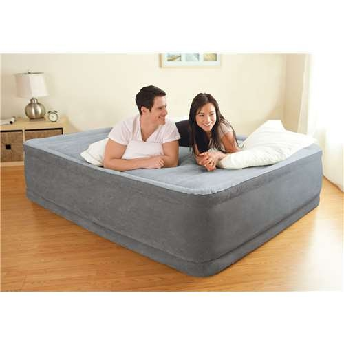 Intex Comfort Plush Elevated Dura-Beam Airbed with Built-in Electric Pump, Bed Height 18, Queen