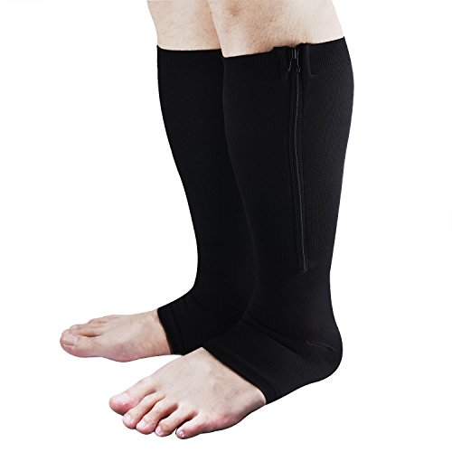 Zipper Compression Socks, Aniwon Open Toe Compression Socks Calf Leg Support Hose Stocking