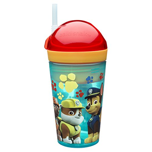 Zak Designs Paw Patrol ZakSnak All-In-One Drink Tumbler + Snack Container For Toddlers - Spill-proof 4oz Snack Container Screws Securely Onto 10oz Tumbler With Accessible Straw, Paw Patrol Boy