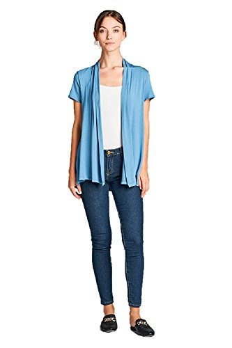 ReneeC. Women's Extra Soft Natural Bamboo Short Summer Cardigan - Made in USA (X-Large, Dust Blue)