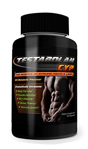 Testabolan Cyp- Natural Testosterone Booster- Promotes Body Fat Loss, Muscle Definition, Skin Elasticity, Immune System- Dietary Supplement 60 Capsules