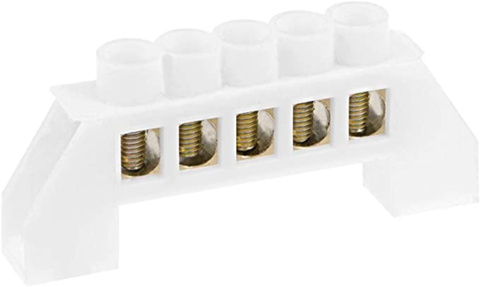 uxcell 7 Positions Copper Screw Terminal Block Barrier Strip Connector Single Row Bridge Shape for Electrical Distribution 4 Pcs