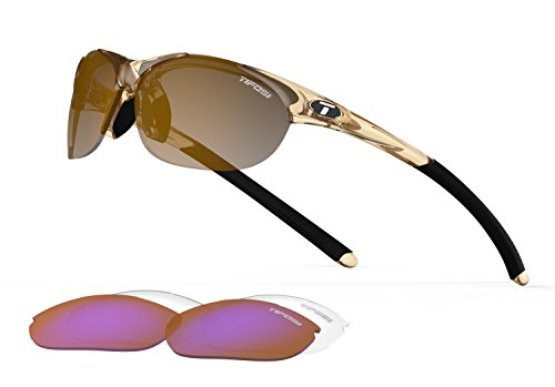Tifosi Core Polarized Sunglasses - Tifosi Womens Wisp T-I905 Dual lens Sunglasses,Crystal Brown Frame/Brown Gradient, Ac Red, and Clear Lens,One Size